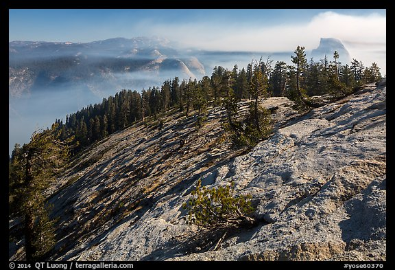Smoke-filled valley and Half-Dome from Sentinel Dome. Yosemite National Park (color)