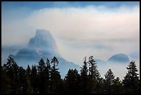 Half-Dome, clearing smoke. Yosemite National Park ( color)
