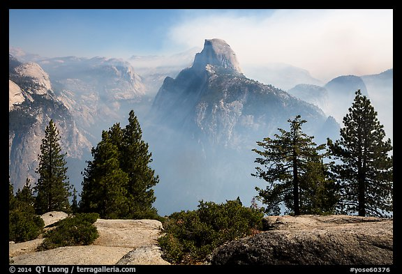 Half Dome from Glacier Point, fog clearing. Yosemite National Park (color)