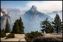 Half Dome from Glacier Point, fog clearing. Yosemite National Park ( color)
