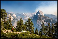 Visitor looking, Glacier Point. Yosemite National Park ( color)