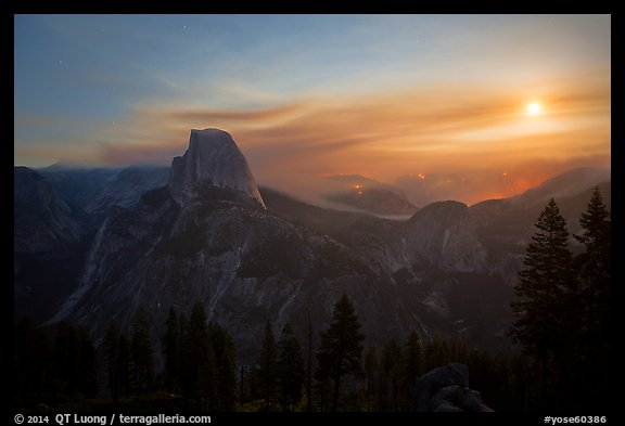 Half-Dome, wildfire, and moon. Yosemite National Park (color)