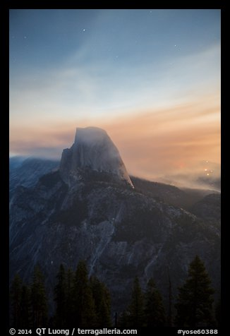 Half-Dome, forest fire, and smoke. Yosemite National Park (color)