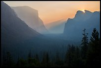 Discovery view with sun rising in notch. Yosemite National Park ( color)