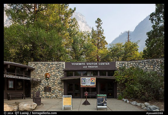 Main visitor center and cliffs. Yosemite National Park (color)
