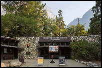 Main visitor center and cliffs. Yosemite National Park, California, USA.
