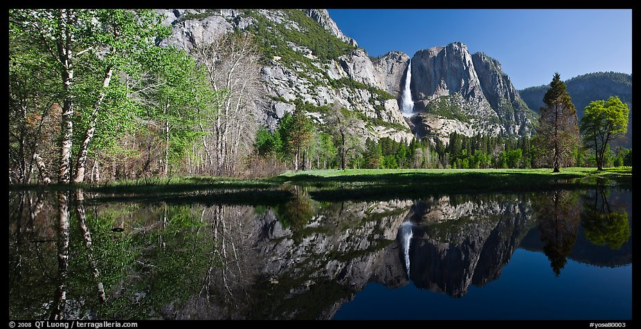Yosemite Falls reflected in run-off pond. Yosemite National Park (color)