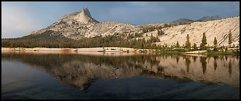 Lower Cathedral Lake, late afternoon. Yosemite National Park (Panoramic color)