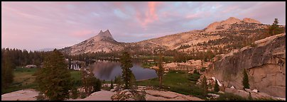 Upper Cathedral Lake, sunset. Yosemite National Park (Panoramic color)