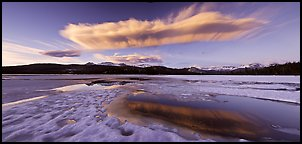 Snow-covered Twolumne Meadows and big cloud at sunset. Yosemite National Park (Panoramic color)