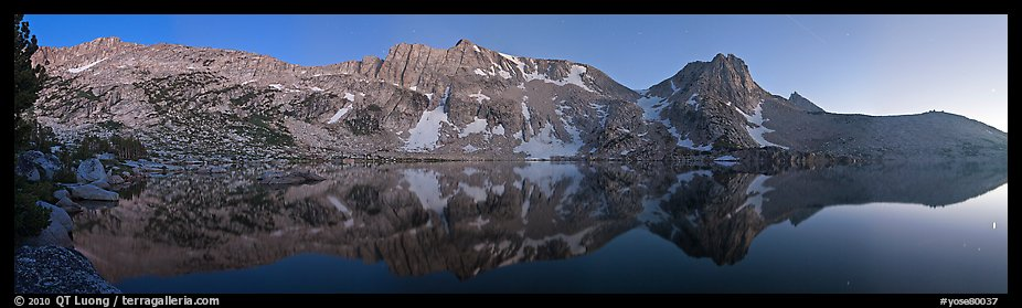 Chain of mountains above upper McCabbe Lake at dusk. Yosemite National Park (color)