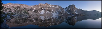 Chain of mountains above upper McCabbe Lake at dusk. Yosemite National Park (Panoramic color)