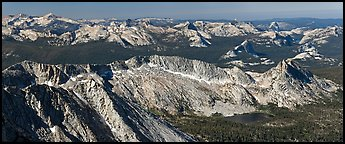 Ragged Peak range, Cathedral Range, and domes from Mount Conness. Yosemite National Park (Panoramic color)