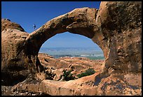 Double O Arch, afternoon. Arches National Park, Utah, USA. (color)