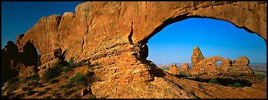 Arch through natural window opening. Arches National Park (Panoramic color)