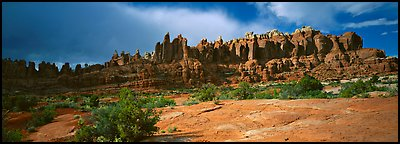 Sandstone pinnacles, Klondike Bluffs. Arches National Park (Panoramic color)