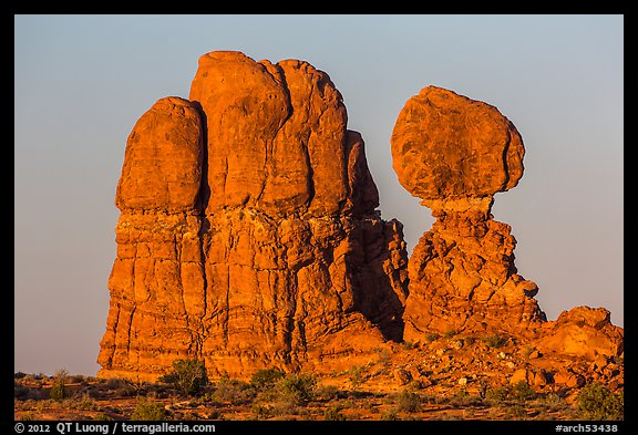 Balanced rock and sandstone tower. Arches National Park (color)