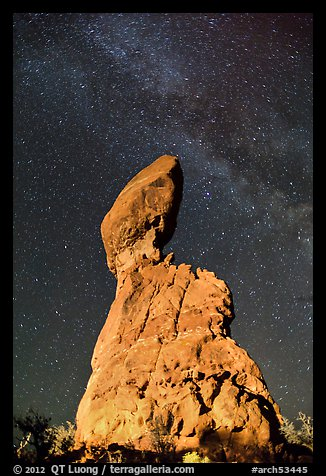 Balanced rock and Milky Way. Arches National Park (color)