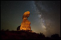 Balanced rock and stars. Arches National Park, Utah, USA. (color)