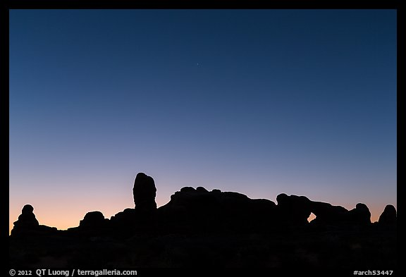 Windows Group silhouette at dawn. Arches National Park (color)