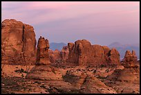 Entrada Sandstone towers seen from Garden of Eden at sunset. Arches National Park ( color)
