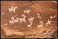 Rock with pannel of Ute Petroglyphs. Arches National Park, Utah, USA. (color)