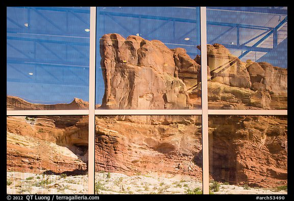 Sandstone walls, Visitor Center window reflexion. Arches National Park (color)
