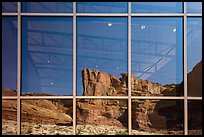 Cliffs, Visitor Center window reflexion. Arches National Park, Utah, USA. (color)
