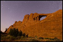 Moonlit Skyline Arch. Arches National Park, Utah, USA. (color)
