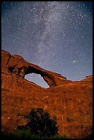 Skyline Arch and Milky Way. Arches National Park, Utah, USA. (color)