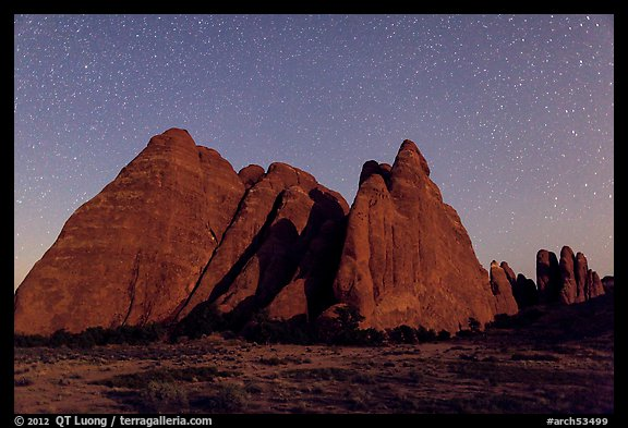 Fins at night with Milky Way. Arches National Park (color)