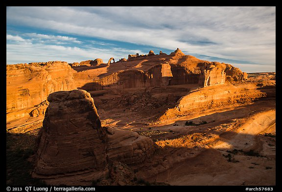 Winter Camp Wash and Delicate Arch at sunrise. Arches National Park (color)