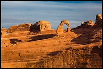Delicate Arch and Frame Arch, early morning. Arches National Park, Utah, USA. (color)