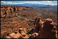 Scenic road seen from top of fin. Arches National Park, Utah, USA. (color)