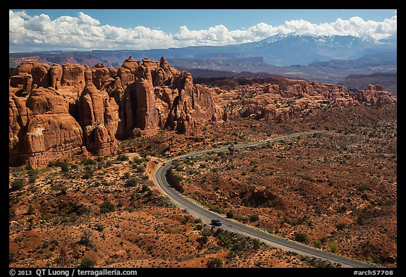 Scenic road and Fiery Furnace fins. Arches National Park (color)