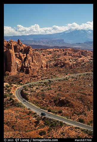 Scenic road, Fiery Furnace, and La Sal mountains. Arches National Park (color)