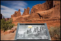 Intepretative sign, Park Avenue. Arches National Park, Utah, USA. (color)