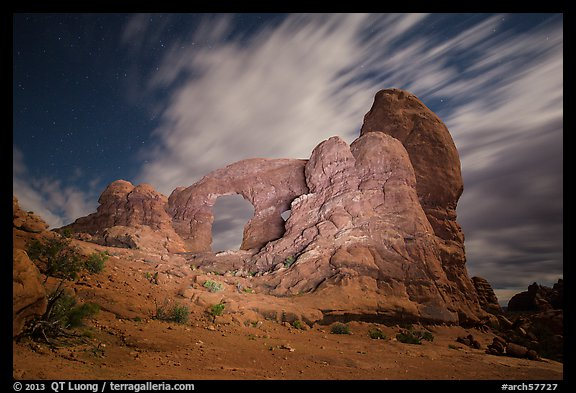 Turret Arch at night, lit by light. Arches National Park (color)