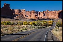 Road, Courthouse wash and Courthouse towers. Arches National Park, Utah, USA. (color)