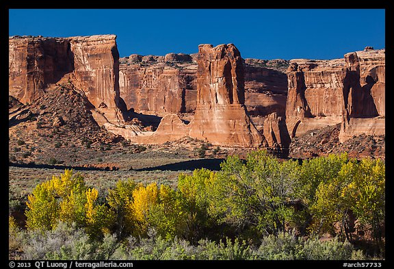 Courthouse wash and Courthouse towers in autumn. Arches National Park (color)