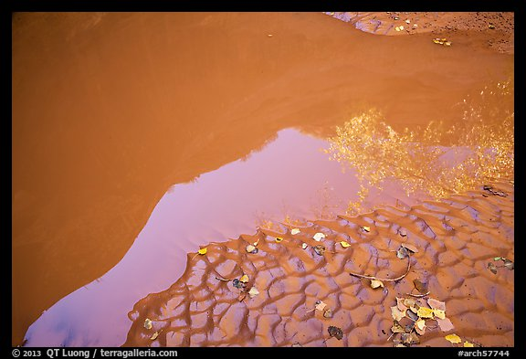 Mud and canyon reflection, Courthouse Wash. Arches National Park (color)