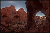 Cove of Arches and Cove Arch at night. Arches National Park, Utah, USA. (color)