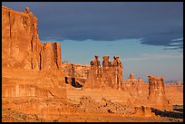 Three Gossips and Courthouse towers, early morning. Arches National Park ( color)