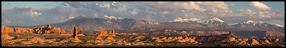 Windows, fins, and La Sal Mountains. Arches National Park (Panoramic color)