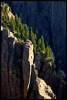Island peaks at sunset, North rim. Black Canyon of the Gunnison National Park, Colorado, USA. (color)