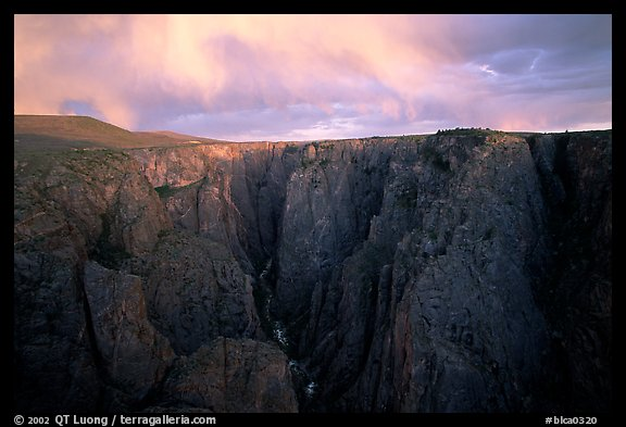 The Narrows seen from Chasm view at sunset, North rim. Black Canyon of the Gunnison National Park (color)