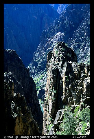 Pinnacles and spires, Island peaks view, North rim. Black Canyon of the Gunnison National Park (color)