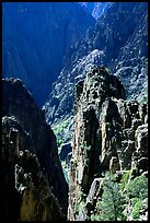 Pinnacles and spires, Island peaks view, North rim. Black Canyon of the Gunnison National Park, Colorado, USA. (color)