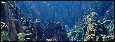 Spires inside canyon. Black Canyon of the Gunnison National Park (Panoramic color)