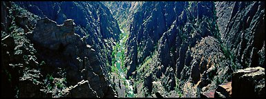 Gunnisson River running deep in narrow gorge. Black Canyon of the Gunnison National Park (Panoramic color)